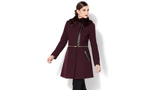 IMAN Platinum Convertible City Coat with Faux Fur Collar