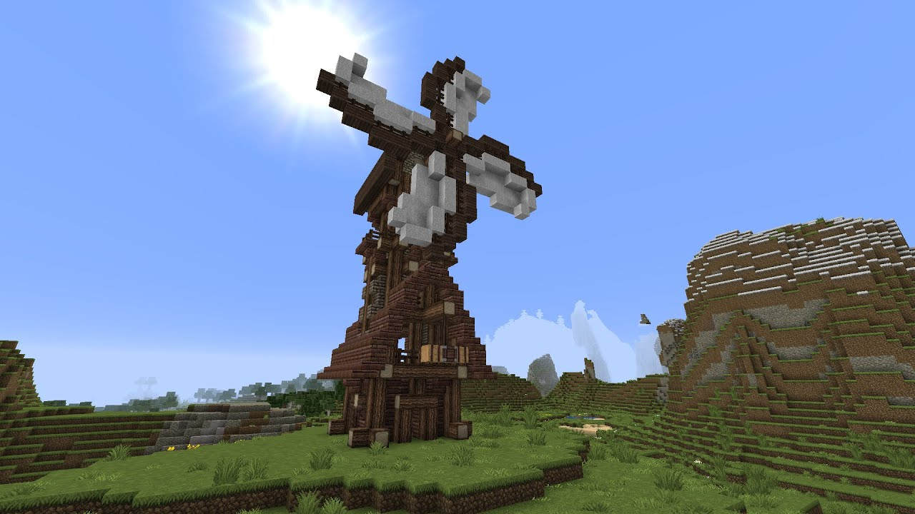 Minecraft rustic/medieval windmill tutorial - YouTube
