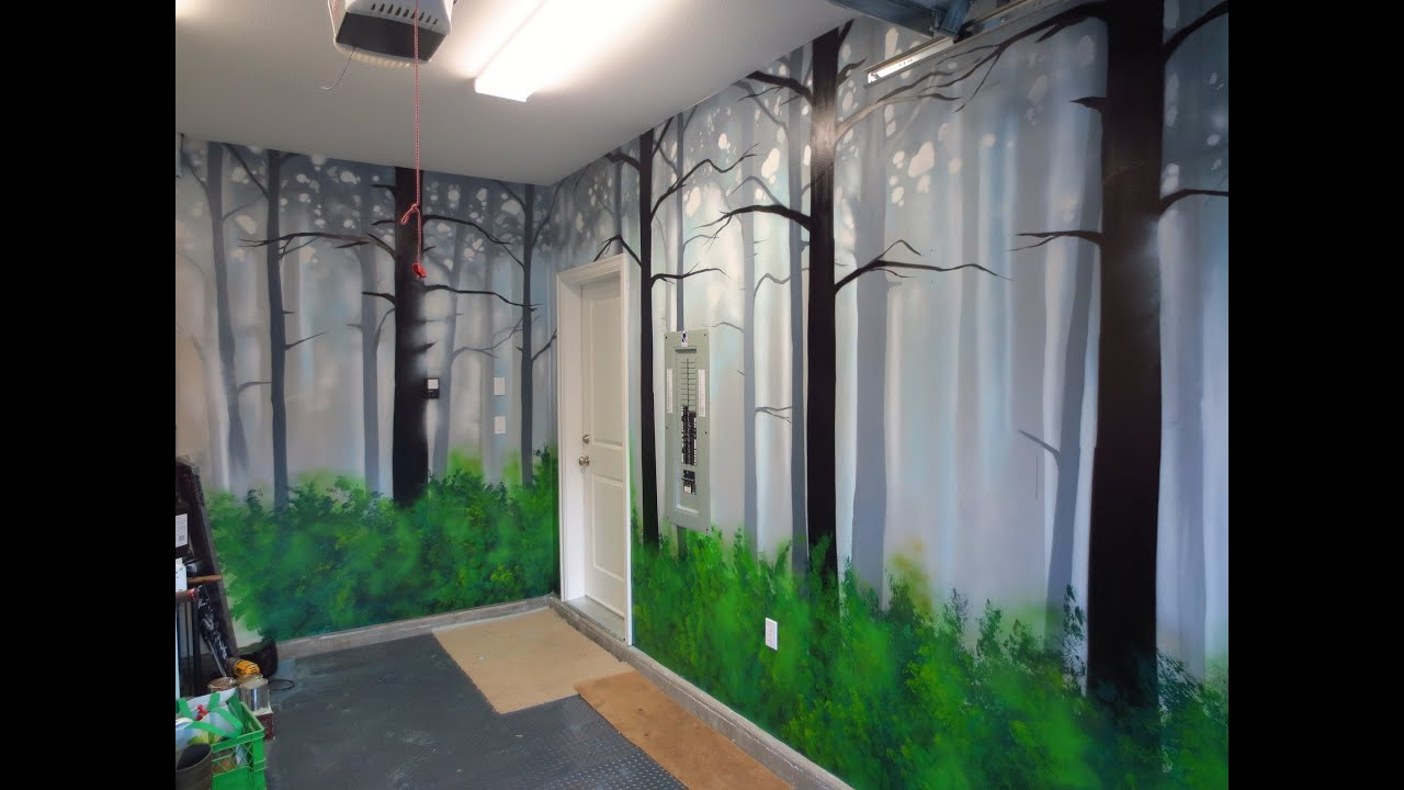 How To Paint A Misty Forest Mural Using Spray Paint - YouTube