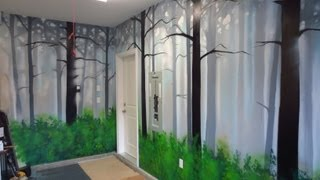 How To Paint A Misty Forest Mural Using Spray Paint