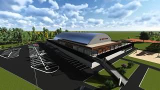 Novostavba zimního stadionu ve Vyškově.