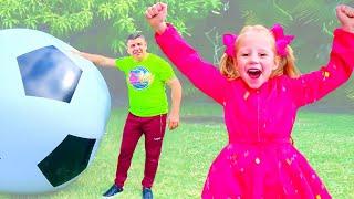 Nastya y papá tuvieron una divertida competencia en casa
