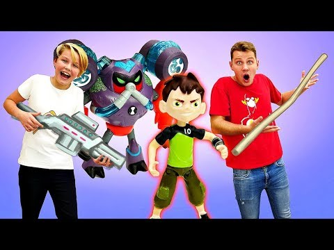 Бен 10 - Двойник и превращения Бена. Видео с игрушками - Мультики для мальчиков