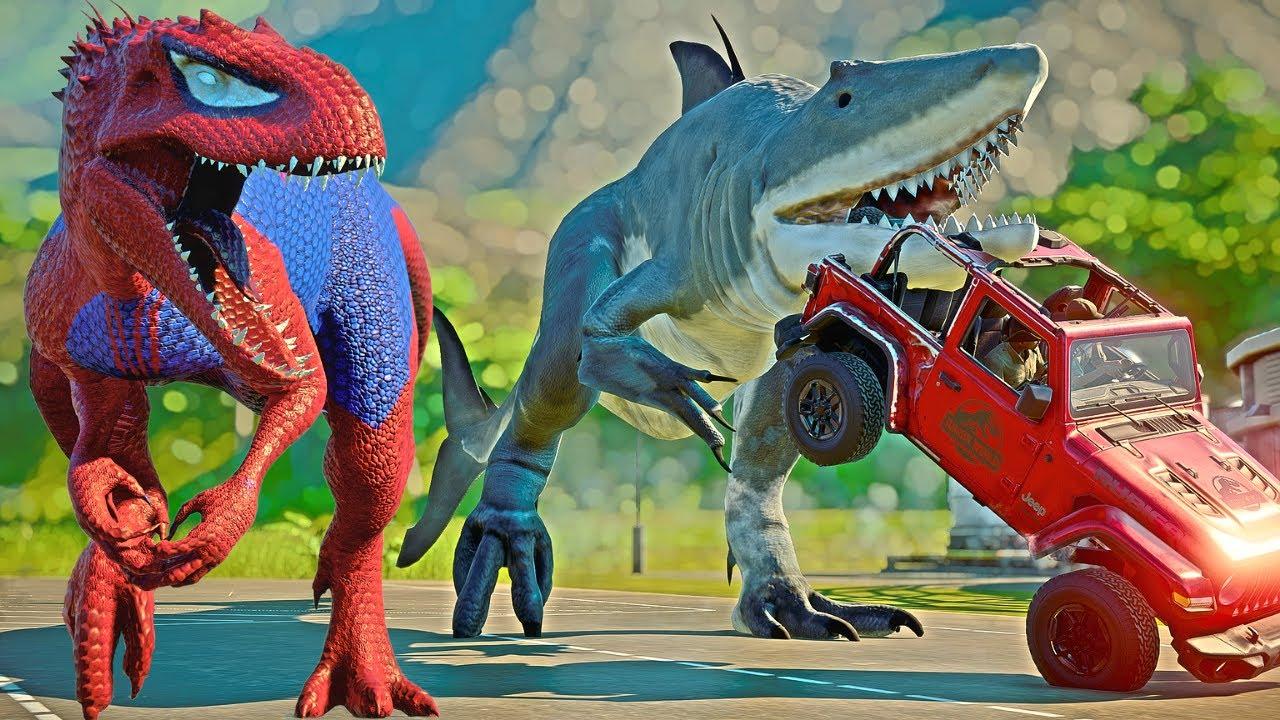 VENOM VS SPIDERMAN, HULK, BATMAN & KING SHARK Dino Fight Jurassic World Evolution
