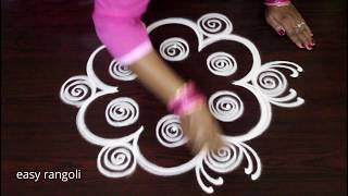 Amazing rangoli designs with 3 dots - Simple kolam drawn for Beginners - Muggulu for daily routine