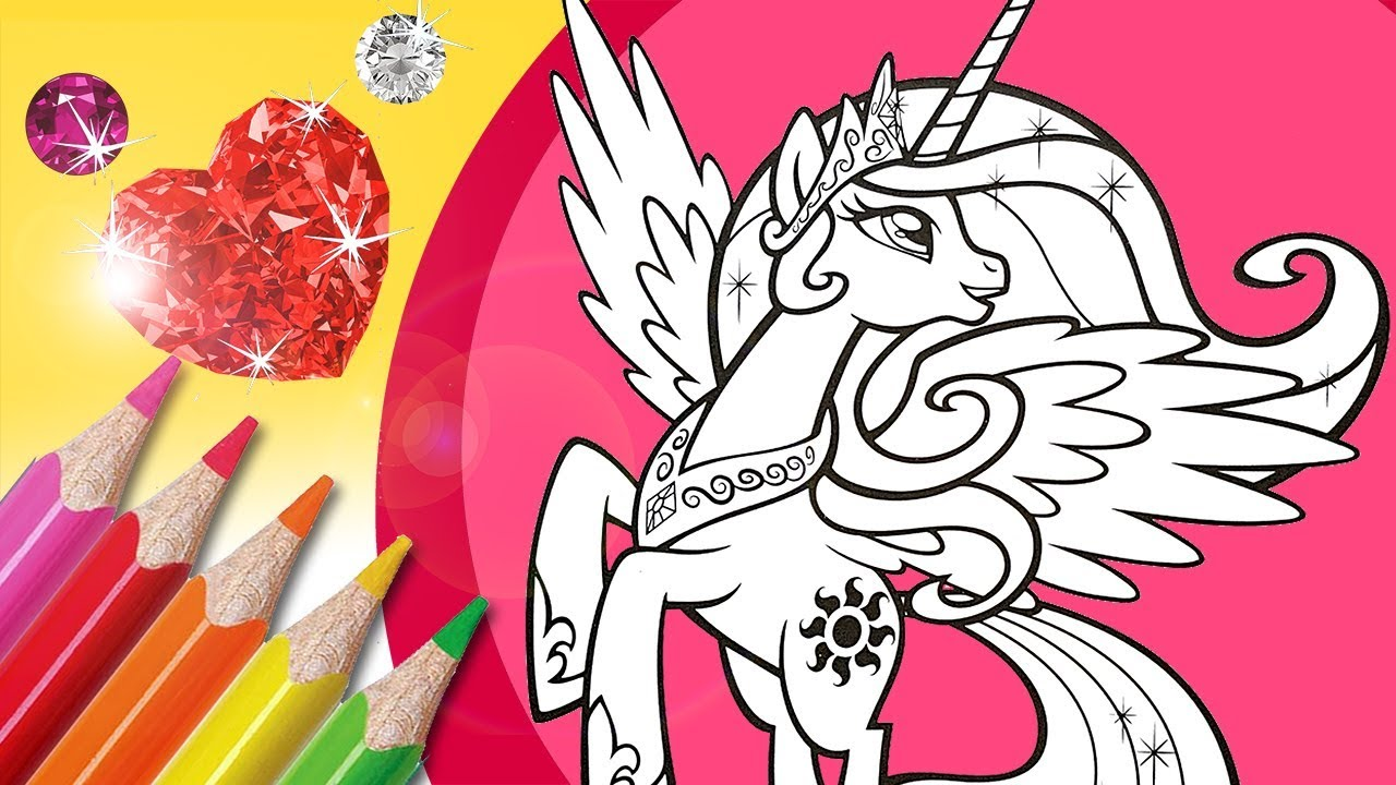 Princess Celestia Coloring Book Pages Mlp Glitter Coloring Youtube