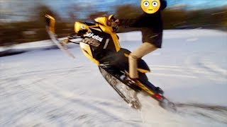KID ALMOST CRASHES MY NEW SNOWMOBILE!!!
