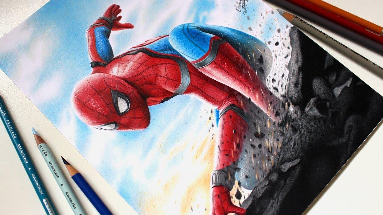 Drawing Spider Man Homecoming Desenhando O Homem Aranha Youtube