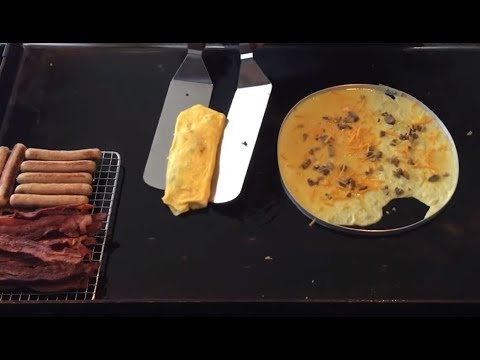 Breakfast on the Blackstone Griddle featuring Bacon Sausage Hash Browns Omelette