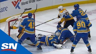 Robert Bortuzzo Levels Viktor Arvidsson From Behind With Dangerous Looking Cross-check