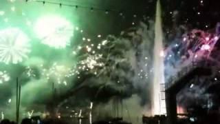 Les feux d'artifice sur le lac Leman à Genève