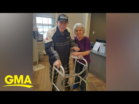 Elderly couple has the sweetest reunion after husband beat COVID-19 l GMA Digital