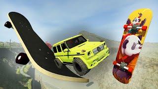 Для чего нужны огромные скейты? Гоша и Чич крушения машин в игре Бимеджи драйв.