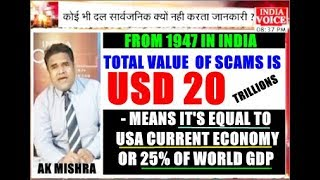 SCAMS VALUE IN INDIA IS USD 20 TRILLION- EQUAL TO US ECONOMY