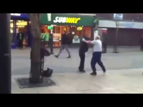 Polish grandpa fights with immigrant  in england