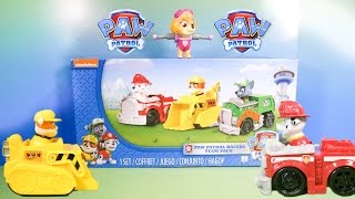 PAW PATROL Nickelodeon Paw Patrol Rocky, Marshall, Rubble Racer Paw Patrol Toy Video Review