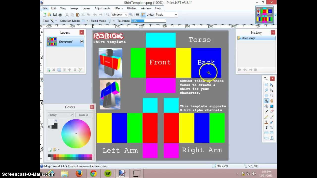 how to make a shirt on roblox with paint net