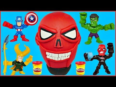 GIANT PLAY DOH SURPRISE EGG RED SKULL MARVEL Super Hero Mashers