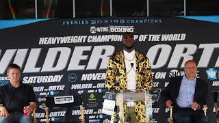 LUIS ORTIZ TELLS DEONTAY WILDER HE FUCKED UP CHOOSING HIM! (VIA PHONE LINK @ PRESS CONFERENCE)
