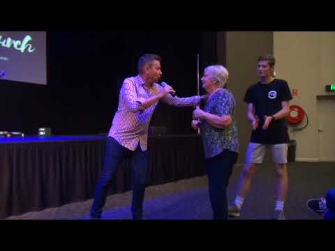 Painful spine healed & lady overwhelmed by Power Of God - John Mellor Healing Ministry