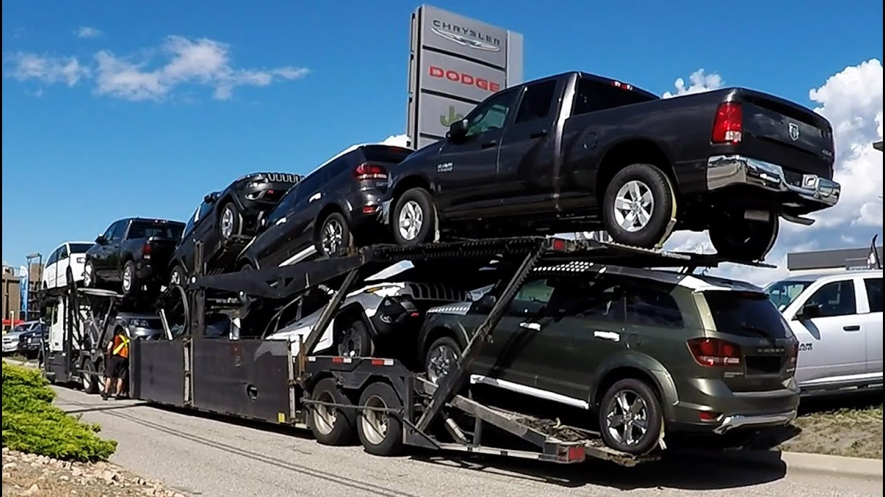 2016 Dodge Ram 3500 >> AUTO TRANSPORT CARRIER #04 -- Chrysler, Dodge, Jeep, RAM. Real Time Unload: 32 Min. - YouTube