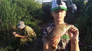 Как я поймал первого КАРПА. Рыбалка с папой и дедушкой.