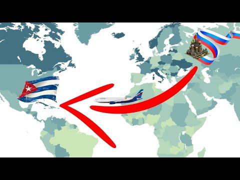 Перелет по маршруту Москва - Гавана (Куба) - Flight Moscow - Havana (Cuba)
