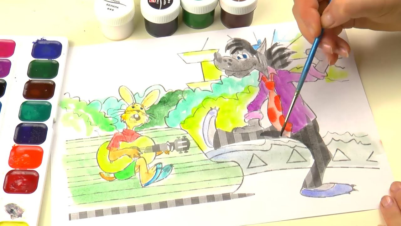 Раскраска Ну погоди Мультик Волк и Заяц Nu Pogodi Coloring ...