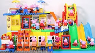 Peppa Pig Family Lego House Creations With Water Slide Toys #5