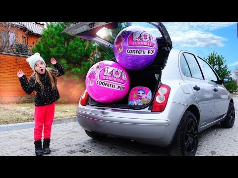 Ulya and Giant Balls LOL Surprise in mom's car