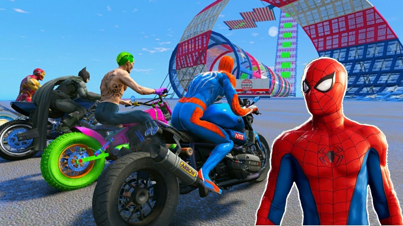 Download RACING MOTORCYCLE Spiderman With Superheroes Extreme Ramp Race Challenge - GTA V Mod