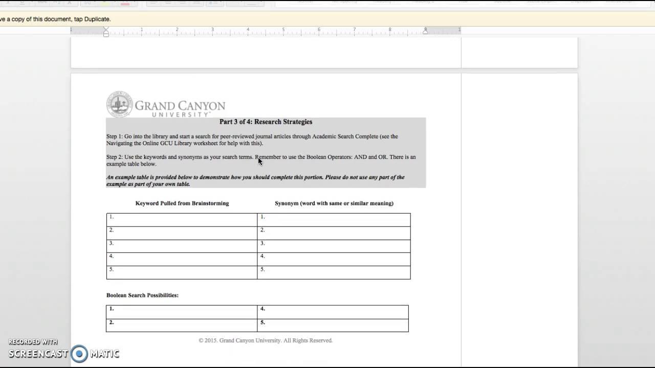 Brainstorming Beginning Research Worksheet Youtube