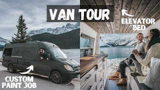 VAN TOUR: Self Converted Sprinter Van | Luxury Tiny Home | Full Bathroom | Elevator Bed