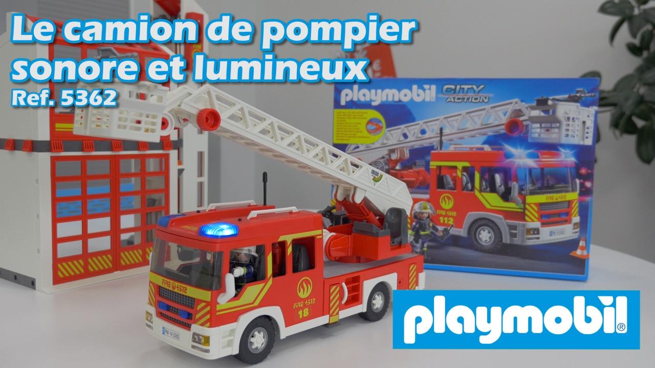 Playmobil 5362 le camion de pompier lumineux et sonore - Playmobil de pompier ...