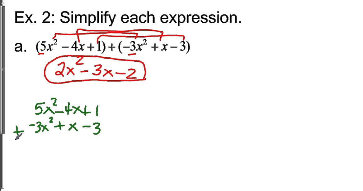 Lesson 6-2: Operations with Polynomials - YouTube
