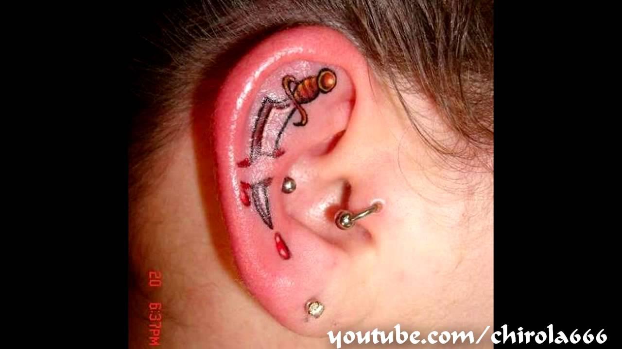 Tatuajes En Las Orejas Ear Tattoos Youtube