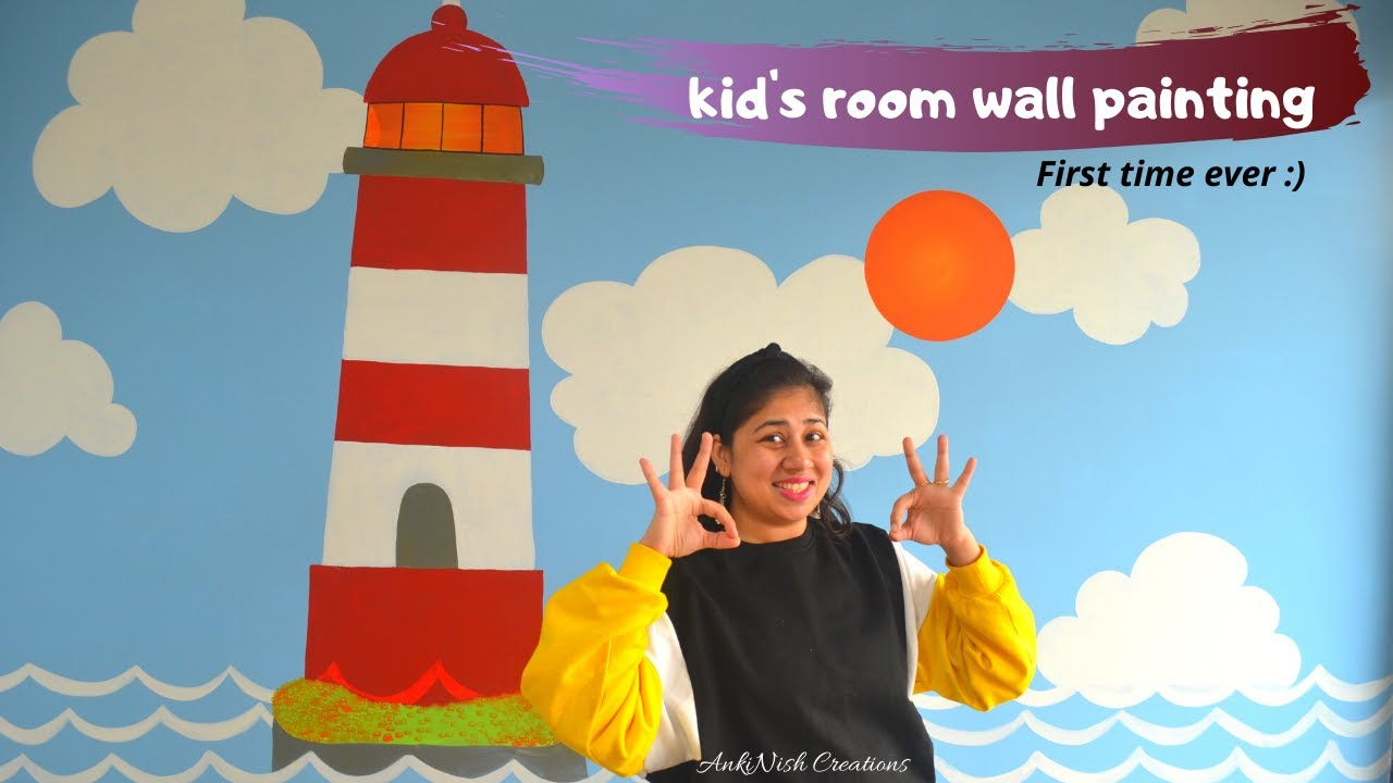 How To Paint Kid S Room Wall Mural Easy I Lighthouse Wall Painting I Kid S Room Wall Mural Youtube