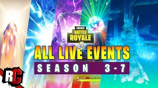 All LIVE EVENTS so far in Fortnite... SEASON 3-7 (Meteor Hit - Ice Storm Live Events)
