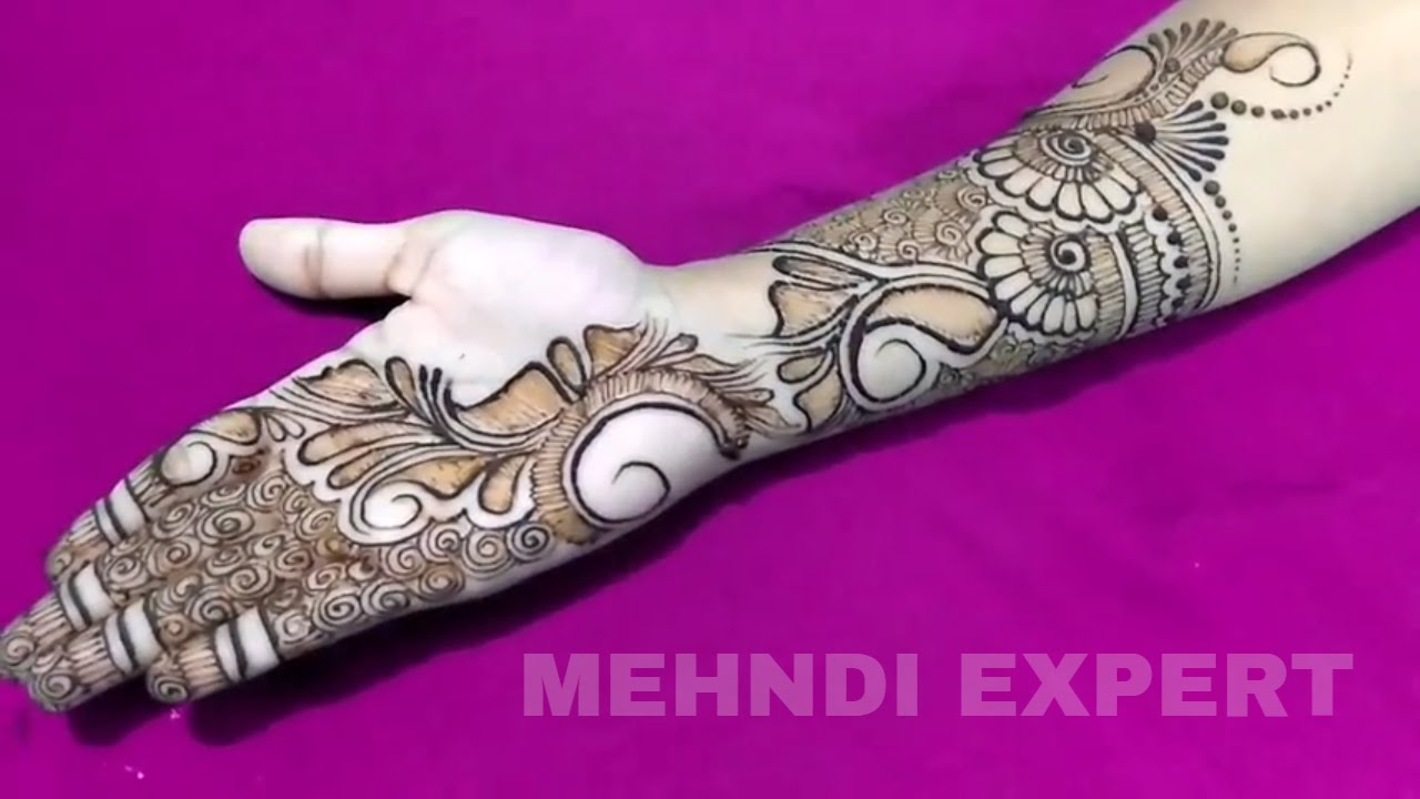 Mehndi Designs Hands Arabic Latest : Another fusion of arabic full hand mehndi design for any