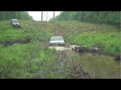 truck swamped in beaver dam