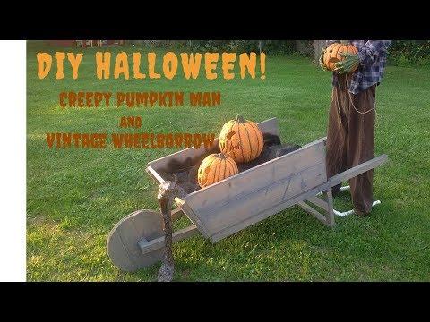 DIY Creepy Halloween Pumpkins , Fake Dirt, and Wooden Wheelbarrow