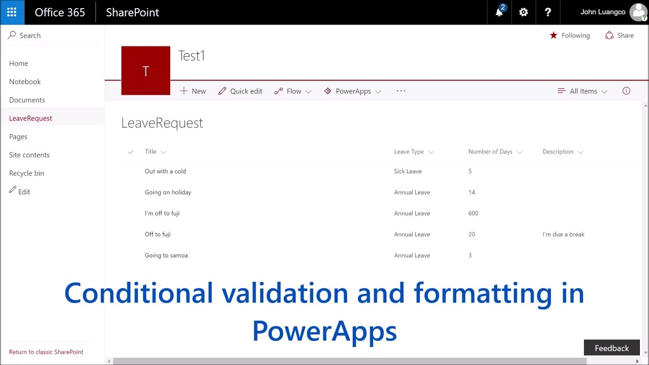An intro to conditional validation and formatting in PowerApps (using  SharePoint as a data source)