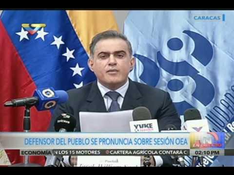 Defensor del Pueblo venezolano se pronuncia sobre injerencia de la OEA