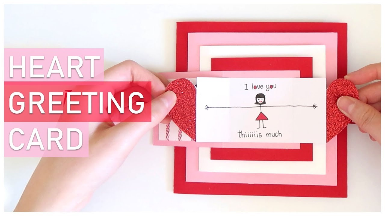 Diy I Love You This Much Heart Greeting Card Tutorial Explosion Box Scrapbook Idea Youtube