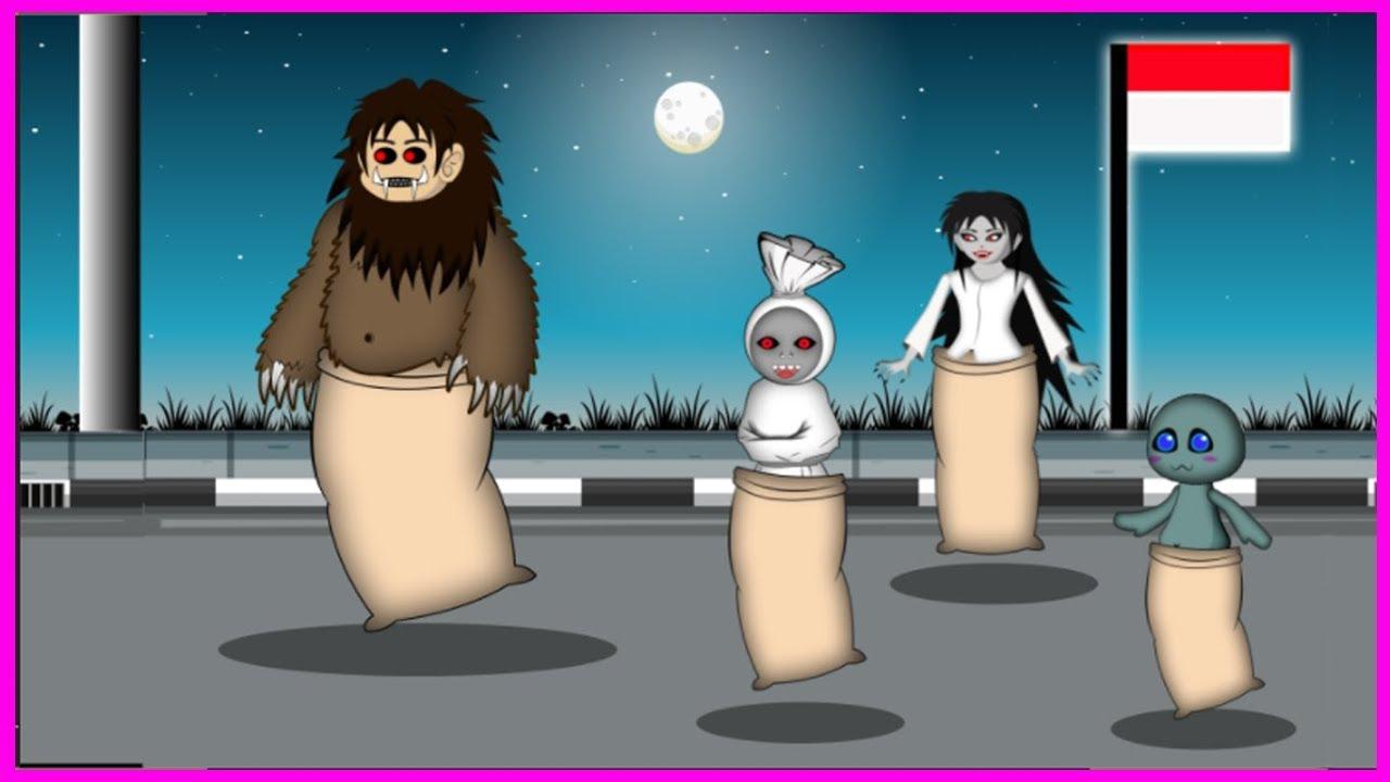 Lomba Balap Karung Hantu Kartun Lucu Lomba 17 Agustusan Youtube