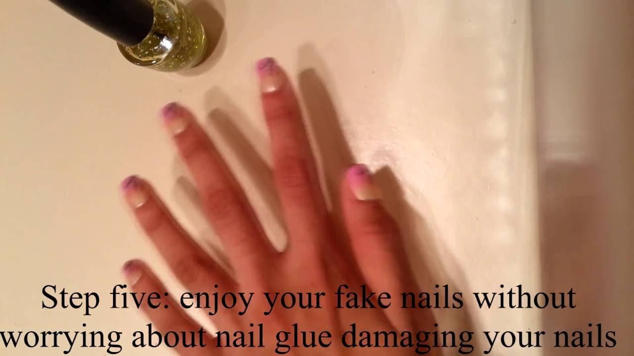Applying Fake Nails without Nail Glue - YouTube