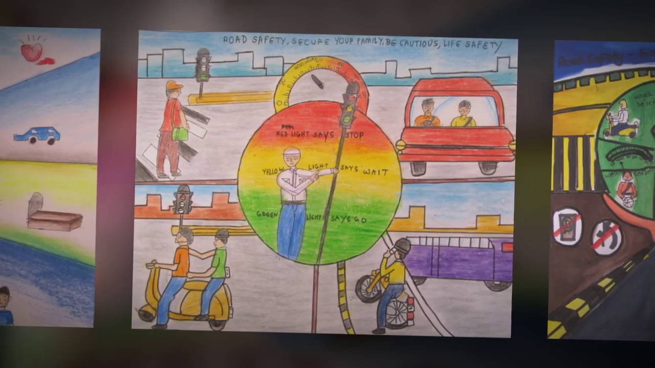 Road safety paintings by children youtube for Craft paint safe for babies