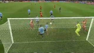 Handball by Suarez from Uruguay. Ghana VS Uruguay 2010 RED CARD