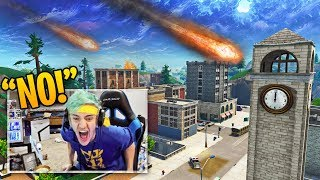 NINJA REACTS TO NEW METEORS DESTROYING TILTED TOWERS! | Fortnite Best Moments #39