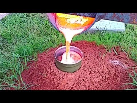 BURNING HOT MOLTEN ALUMINUM FIRE ANT HILL CASTING FIREANT REVENGE VIDEO